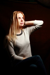 Waiting blondy. Luxury woman with long blonde, red hair. Fashion Model.