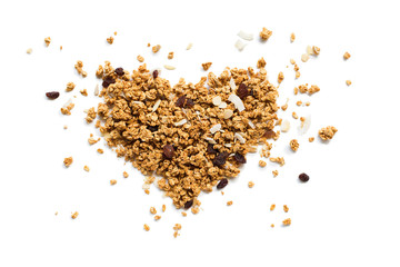 Shape Heart Granola Raisin Coconut Almond Isolated