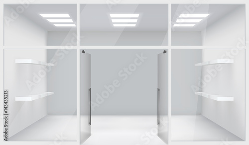 Front Store Shop 3d Realistic Space Open Doors Shelves Template