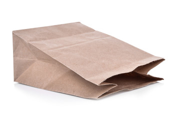 Brown paper bag for food isolated on white background