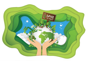 Paper art of World environment day greeting design stock vector