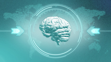 Abstract 3d render of brain in HUD target display in front of digital world map