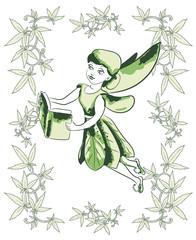 Fairy read the book. Leafs skirt. Cannabis (marijuana) leafs around. Vector image.