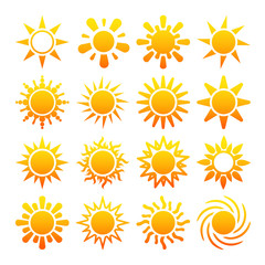 Yellow sun vector icons isolated on white background