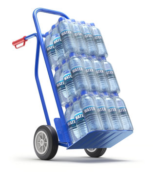 PET packed bottled water on the hand truck