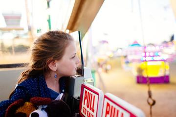 Girl in amusement park