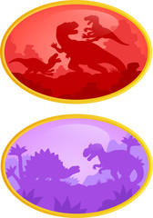 Contour images of dinosaurs logo
