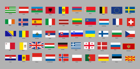 set of with European countries flags
