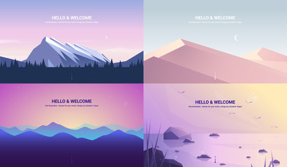 In de dag Purper Vector banners set . Landscape illustration . flat design