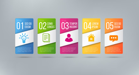 Business infographics cards or labels icons