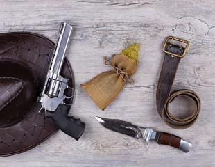 Wild west, revolver, gold, cowboy, vintage concept