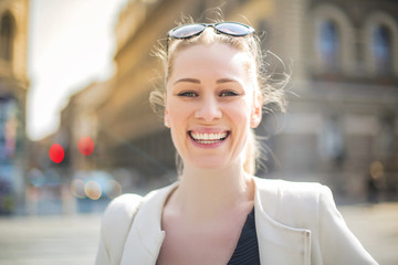 Cheerful girl smiling