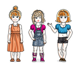 Cute little girls standing in stylish casual clothes. Vector kids illustrations set.