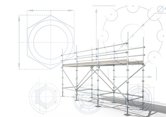 3D scaffolding with white background with cogs