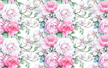 Seamless composition with white and pink roses 1
