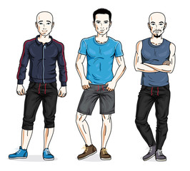 Happy men group standing wearing stylish sport clothes. Vector diverse people illustrations set. Lifestyle theme male characters.