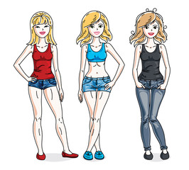 Young beautiful women group standing wearing casual clothes. Vector characters set.