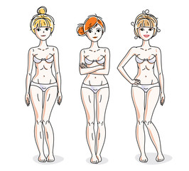 Happy attractive young women standing in white underwear. Vector diversity people illustrations set.