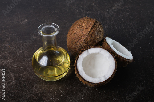 Quot Coconut And Coconut Oil On A Dark Marble Background