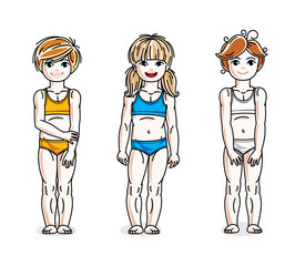 Little girls standing in colorful bikini. Vector kids illustrations set.