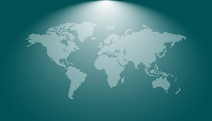 Dotted blank world map. World map vector template for website, infographics, design.