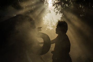 Elephant Thailand and the man Thai people is mahout in Chang village Surin Province Thailand.