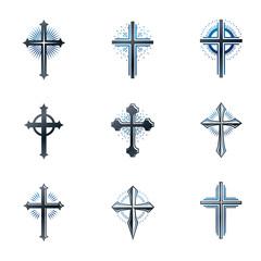 Crosses of Christianity emblems set. Heraldic vector design elements collection. Retro style label, heraldry logo.