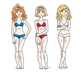 Young beautiful women standing wearing colorful bikini. Vector diversity people illustrations set.