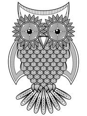 Big amusing cartoon ornate owl outline