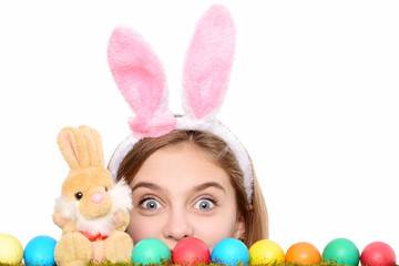 happy easter girl in bunny ears with colorful eggs, rabbit
