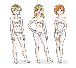 Young beautiful women standing in white underwear. Vector set of beautiful people illustrations. Slim female with perfect body.