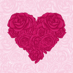 Rose in heart shape with text and white background