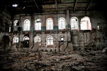 Inside abandoned sugar factory of red brick