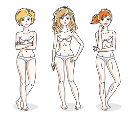 Attractive young women group standing in white underwear. Vector people illustrations set. Slim female with perfect body.