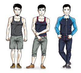 Confident handsome men group standing wearing stylish sport clothes. Vector people illustrations set.
