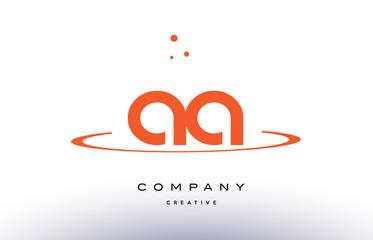 AA A creative orange swoosh alphabet letter logo icon