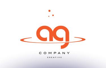 AG A G creative orange swoosh alphabet letter logo icon