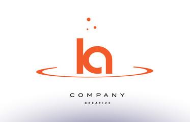 LA L A creative orange swoosh alphabet letter logo icon