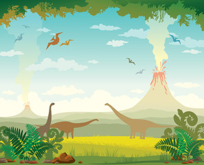 Prehistoric landscape with volcanos and dinosaurs.