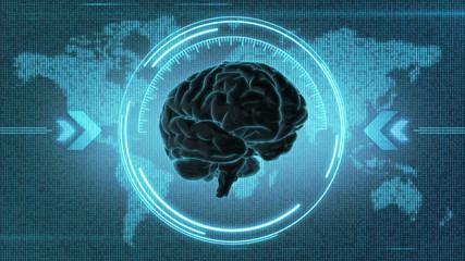 Dark brain HUD - 3d render of brain inside target in front of digital map of the Earth