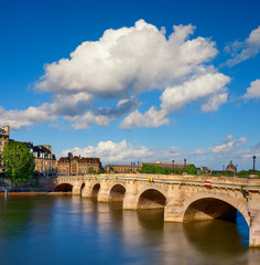 Wall Mural - Pont Neuf bridge on Seine river in Paris, France, on a bright sunny day.