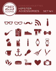 Icons silhouettes hipster accessories set №4