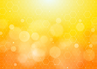 Honeycomb Structure #Vector Graphics_Yellow Background