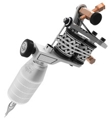 Metallic silver tattoo machine with ornament and big grip