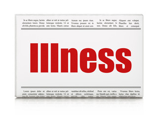 Health concept: newspaper headline Illness