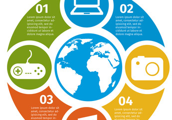 Circular Global Media Infographics