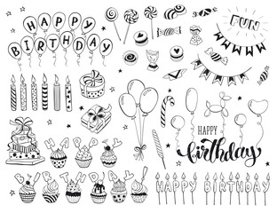 Happy birthday celebration doodle icons collection isolated on white background. Hand drawn birthday design elements for greeting cards, invitations etc.