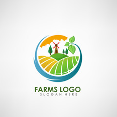 Farm concept logo template. Label for natural farm products. Vector illustration