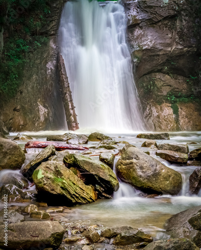 summer outdoors wallpaper. Nature Scenery, Landscape With Waterfall, Cascade On Long Exposure, Flowing Water Among Rocks Summer Outdoors Wallpaper E