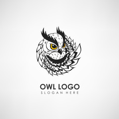 Owl concept logo template. Label for company or organization. Vector illustration